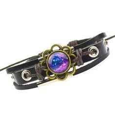 (LOA) NEO-Hippie Galaxy Flower Cuff Bracelet