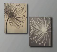 Gray+and+White+Dandelion+Painting+by+TidbitsofImagination+on+Etsy,+$34.99