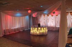 Wall Drapery Cinderella Table Skirting, canopy dance floor