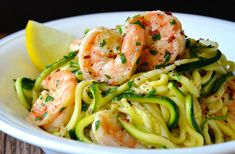 Enjoy a lighter take on a comfort food favorite with a 30-minute recipe for healthy shrimp scampi with zucchini noodles.