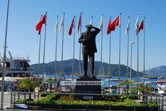 The welcoming Ataturk Statue Square in Marmaris Turkey.
