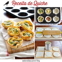 Mini quiches made using sandwich bread! Filled with bacon, cheese and egg mixture. Cute mini quiches made using plain old sandwich bread. Makes 6 quiches servings). Quiche Recipes, Egg Recipes, Brunch Recipes, Cooking Recipes, Cheese Recipes, Mini Quiches, Recipetin Eats, Snacks, Finger Foods