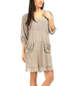 Loving this Mole Crinkle Lace Roll-Tab Sleeve Shift Dress - Women & Plus on #zulily! #zulilyfinds