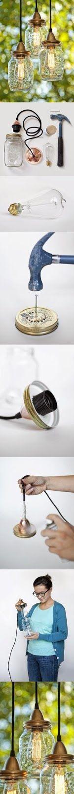 My DIY Projects: DIY Mason Jar Light  #MasonJar #Light! #DIY #Mason #Jar #Light #Craft #MakeYourOwn
