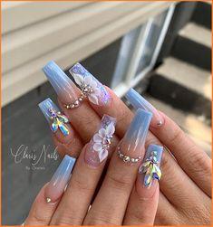 Cute Acrylic Nail Designs, Long Nail Designs, Nail Bar And Spa, Nail Lab, Indigo Nails, Diva Nails, Fall Acrylic Nails, Bling Nails, Gorgeous Nails