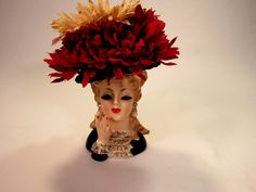 "Pretty Vintage Lady Head Vase with Swarovski Crystal and Pearl Earrings and Flower Hat. The  Lady Head Vase is 5 3/4"" Tall with gold trim! by VintageQualityFinds on Etsy"