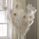 Metallic Glitter Feather Spray - Champagne