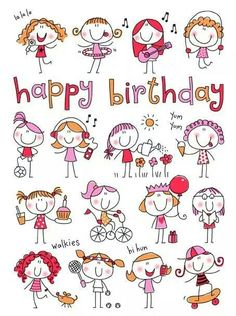 58 Super Ideas For Birthday Drawing Doodles Happy Happy Birthday Quotes, Birthday Messages, Happy Birthday Wishes, Birthday Images, Birthday Greetings, Happy Birthday Little Girl, Doodle Drawings, Easy Drawings, Doodle Art