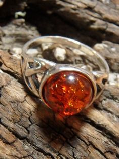 Triquetra Cognac Baltic Amber Gemstone Ring In Sterling Silver