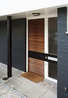 Painted brick exteriors, modern front door, modern entrance, front door d. Modern House Design, Modern Exterior Doors, House Exterior, Windows And Doors, Modern Front Door, House Colors, Porch Windows