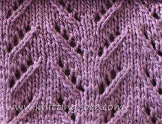 Free Simple Chevron Lace Knit Stitch by http://www.knitting-bee.com/knitting-pattern-treasury/lace-stitches/simple-chevron-lace-knit-stitch