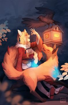 "sangcoon: "" kitsune duo to go w the wolfskins! """