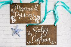 Nautical Bride & Groom Sign  Nautical Wedding by MermaidsWhispers
