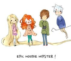 Jack, Rapunzel, Merida and Hiccup - The Big Four Fan Art
