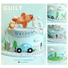 Blue Cars and Plane - cake by Guilt Desserts Planes Birthday Cake, Cars Theme Cake, Planes Cake, Baby Boy Birthday Cake, Themed Birthday Cakes, Themed Cakes, 2nd Birthday, Little Boy Cakes, Cakes For Boys