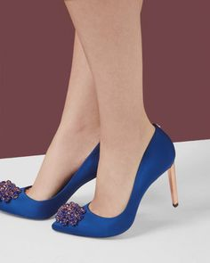 Brooch detail court shoes - Blue | Footwear | Ted Baker ROW