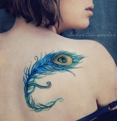 Peacock, Feather, back, Tattoo Designs – The Unique DIY Watercolor Tattoo which makes your home more personality. Collect all DIY Watercolor Tattoo ideas on peacock, feather to Personalize yourselves. Watercolor Peacock Tattoo, Peacock Feather Tattoo, Feather Tattoo Design, Feather Tattoos, Peacock Feathers, Music Tattoos, Hot Tattoos, Trendy Tattoos, Body Art Tattoos