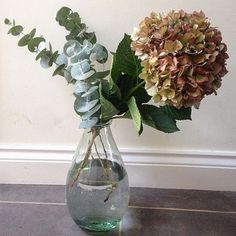 We love how @suziewilliams styled her Recycled Glass Vase with eucalyptus sprigs and a dried hydrangea head ❤️