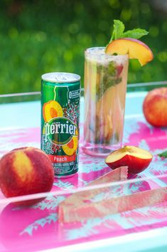 Recipe: Peach & Coconut Mojito! Featuring Perrier's new peach flavor, it is a refreshing cocktail that you'll want to be sipping... #ad #PerrierFlavors