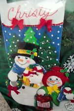 "Christmas Bucilla Felt Applique Stocking Kit,MR. & MRS. F.T. SNOWMAN,Frosty,18"" Felt Stocking Kit, Felt Christmas Stockings, Felt Applique, Felt Ornaments, Snowman, Holiday Decor, Ebay, Needle Felted Ornaments, Wool Applique"