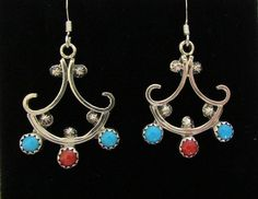 Native American Zuni .925 Sterling Turquoise & Coral French Hook Earrings