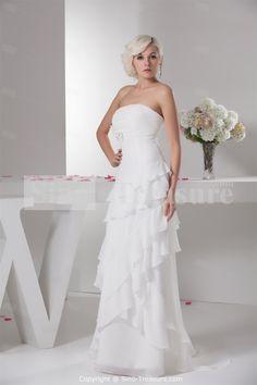 white Sleeveless Outdoor/ Garden Column/Sheath Wedding Dress