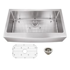 "Soleil 36"" x 20"" Stainless Steel 16 Gauge Apron Front Single Bowl Kitchen Sink"