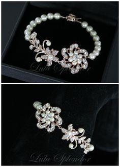 Rose Gold  Pearl Bridal Bracelet Swarovski Crystal by LuluSplendor, $65.00