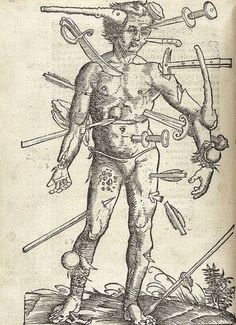 """realreeceshears: """" In the novel """"Red Dragon"""", Hannibal Lecter is caught because he arranges his sixth victim like the illustration """"Wound Man"""". Here is the medieval illustration. I have always been..."""