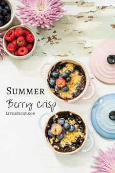 My Favorite, Summer Berry Crisp Recipe - Little Figgy Food Best Dessert Recipes, Sweets Recipes, Fruit Recipes, Brunch Recipes, Summer Recipes, Breakfast Recipes, Amazing Recipes, Breakfast Ideas, Chicken Recipes