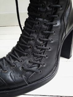 vintage Ann Demeulemeester black triple lace boots – fall 2008