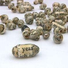 Recyclé papier perles 30 pcs : assortiment de poésie toute Whirld, de noir et de Look fait pour commander de crème Vintage