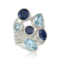 11.30 ct. t.w. Sapphire and Blue Topaz Ring In Sterling Silver   Pretty Blue colors.  Reminds me of a Big Blue Tornado.