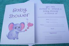 Baby Shower Invitations / Girl Baby Shower Invitations / Elephant Baby Shower Invitations / Girl Baby Shower / It's a Girl Baby Shower / Art by LoraArtandStationery on Etsy