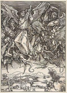 Saint Michael Fighting the Dragon, from The Apocalypse Copy after Albrecht Dürer  (German, Nuremberg 1471–1528 Nuremberg) Woodcut