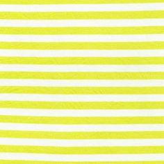 1/2 Lemon/White Stripes Rayon Jersey Stretch Knit by StylishFabric, $5.50