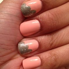Coral and taupe nails