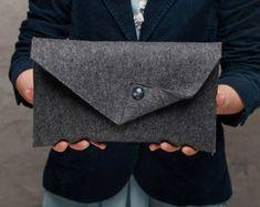 Black Merino wool felt clutch bag black large by FeltinLoveBags