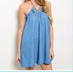 Chambray Denim Shift Dress