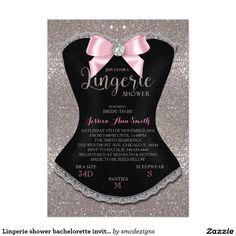 Lingerie shower bachelorette invitation silver