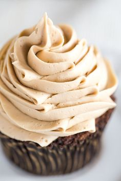 Mocha Cupcakes with Espresso Buttercream Frosting - An easy recipe and a perfect way to get your dessert and coffee fix all in one! | browneyedbaker.com @Michelle (Brown Eyed Baker)