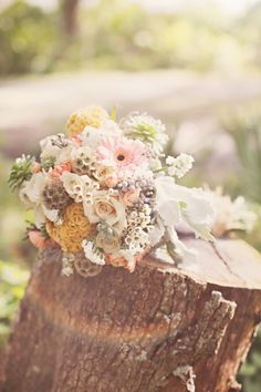 Rustic Wedding Bouquet, less yellow and pink, more blush and green/grey/blue