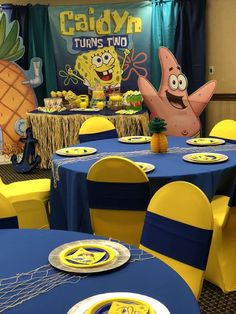 Britany S's Birthday / Spongebob - Photo Gallery at Catch My Party 2nd Birthday Party For Boys, Spongebob Birthday Party, Kylie Birthday, Leo Birthday, Birthday Party Tables, Spongebob Party Ideas, Birthday Ideas, Birthday Table Decorations, Fun Party Themes