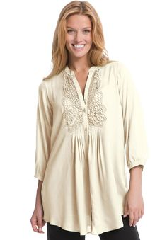 Tunic, with crochet trim and 3/4 sleeves   Plus Size New Arrivals   Woman Within http://www.cuetheconversation.com/