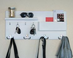 Entryway Organizer Coat Hook Rack with Storage Ledges and Mail Pocket Organizer Entryway Organizer Coat Hook Rack with Storage Ledges and Mail Diy Coat Rack, Rustic Coat Rack, Entryway Shelf, Entryway Organization, Interior Design Living Room, Living Room Decor, Craftsman Decor, Small Entryways, Small Space Storage