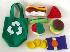 Pull out the red gingham blanket, and get ready to head to the park with this Felt Food Picnic Set! With American Classics and summer favorites, let your imagination run wild with this fun set! Comple