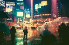 Fotos cinematográficas noturnas captadas em Tóquio