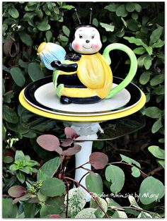 Bee Teapot Garden Totem Stake  As Featured by GardenWhimsiesByMary, $37.00