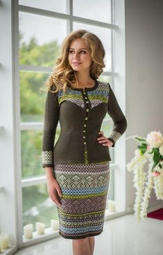 """Knitted jacquard two-piece suit """"Slavyanka"""" jacket + pencil skirt! Warm Outfits, Casual Outfits, Suits For Women, Clothes For Women, Fashion Over 50, Knit Dress, Dame, Designer Dresses, Skirt Set"""