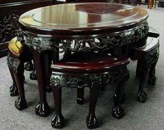 dragon furniture | Shown Below in Dark Stain and Dragon Carving